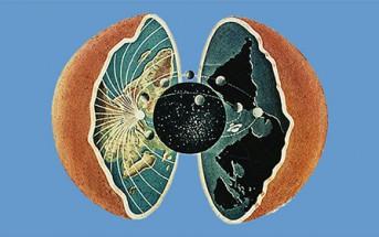 Illustratie van holle aarde, het bijbels wereldbeeld